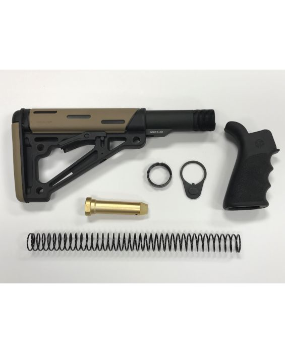 AR-15 Hogue FDE Stock Kit & Black Hogue Grip