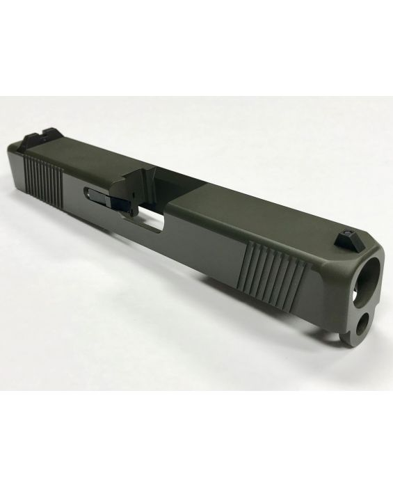 Built Upper For Glock 19 Slide, Upper Build Kit, Sights, Cerakote OD, No Barrel