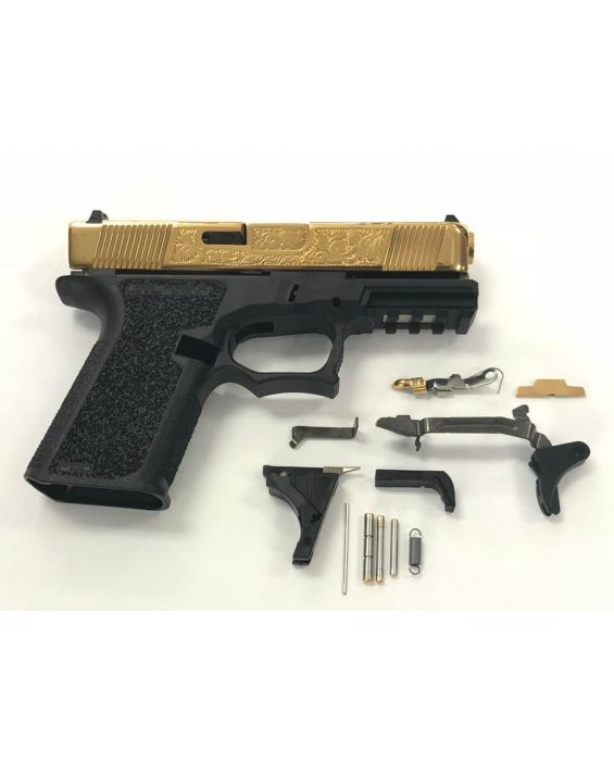HIGH END GLOCK 19 KIT WITH TIN TITANIUM NITRIDE POLISHED SLIDE WITH HAND ENGRAVING