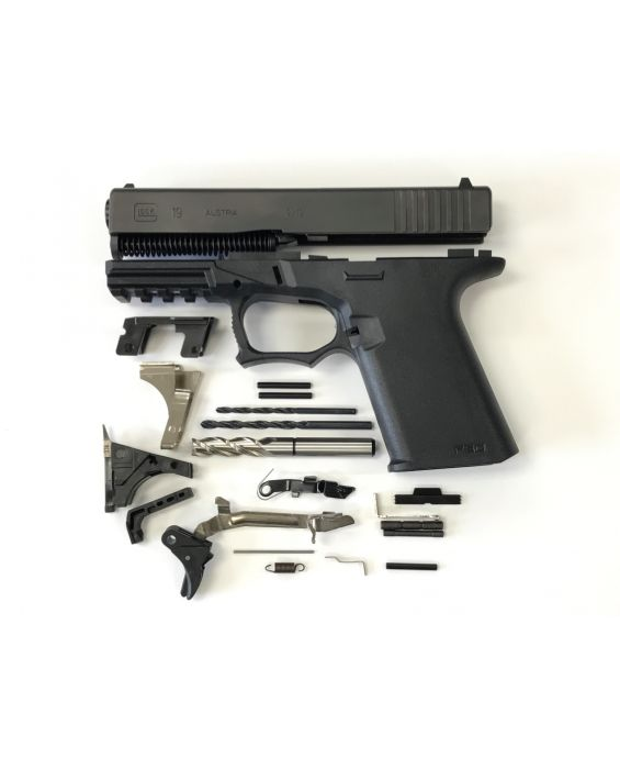 GLOCK 19 COMPACT 80% PISTOL BUILD KIT UPPER & LOWER PARTS KIT MADE WITH ALL GLOCK PARTS,  YOU PIC THE PISTOL CALIBER 19, 23, 32