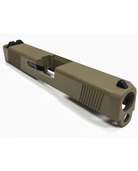 Built Upper For Glock 19 Slide, Upper Build Kit, Sights, Cerakote FDE No Barrel