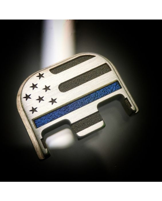 Brushed Titanium American Flag w/ Thin Blue Line