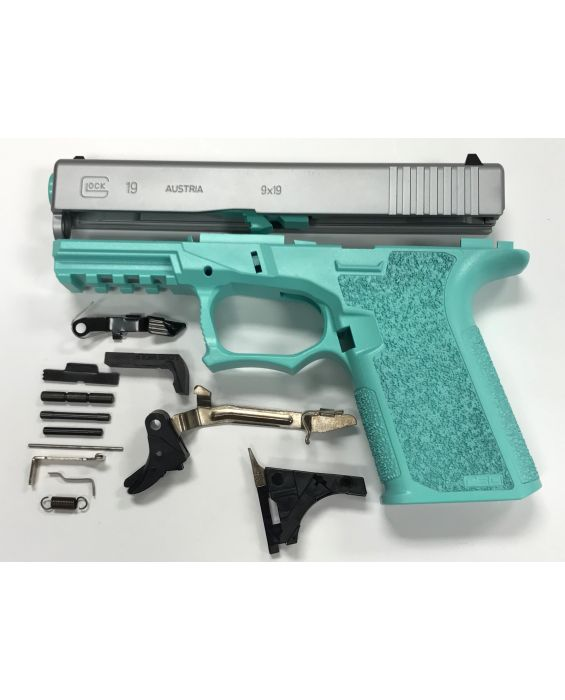 Glock 19 Compact 80% pistol build kit Tiffany Blue