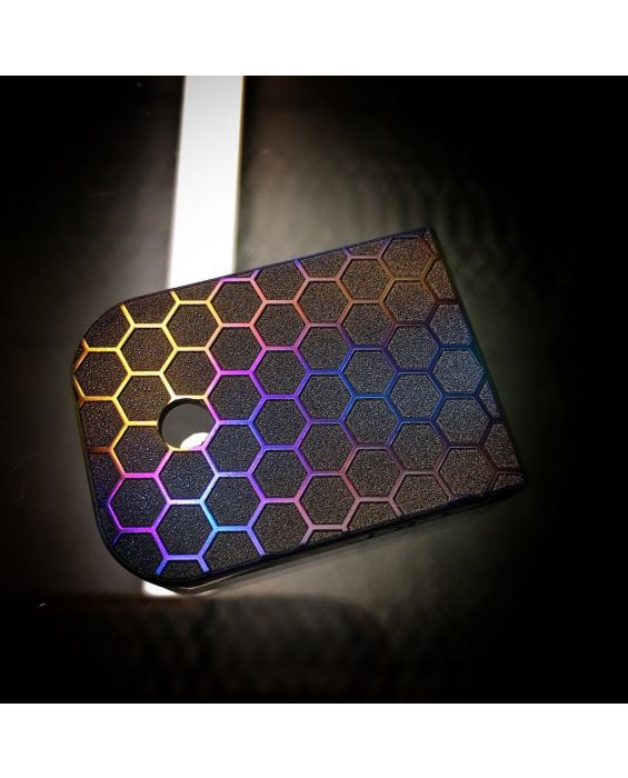 Titanium Mag Plate: Honeycomb Flame Anodized